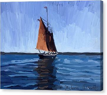 Schooner Roseway In Gloucester Harbor Canvas Print by Melissa Abbott