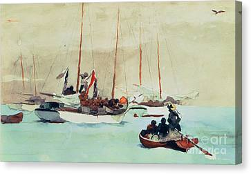 Schooners At Anchor In Key West Canvas Print by Winslow Homer
