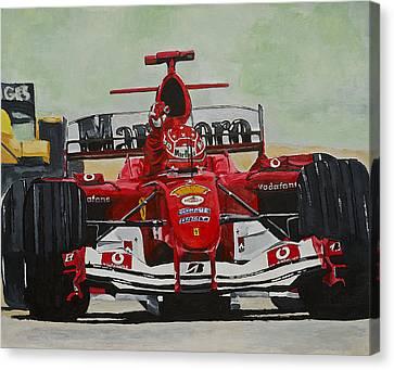Schumacher Wins Canvas Print by Terry Gill