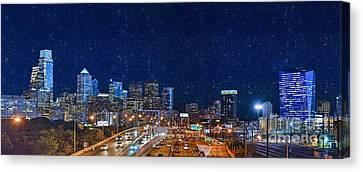 Schuylkill Expressway Skyline Panorama Canvas Print by David Zanzinger