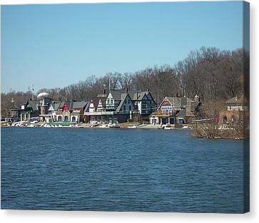 Canvas Print featuring the photograph Schuylkill River - Boathouse Row In Philadelphia by Bill Cannon