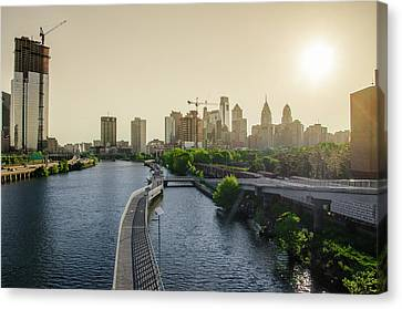 Canvas Print featuring the photograph Schuylkill River Walk At Sunrise by Bill Cannon