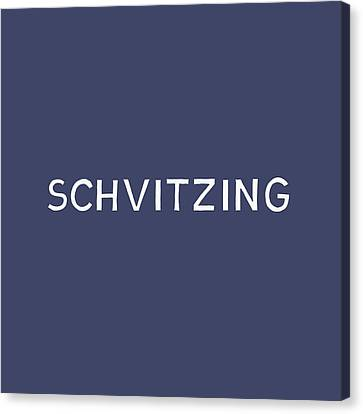 Judaic Canvas Print - Schvitzing Navy And White- Art By Linda Woods by Linda Woods
