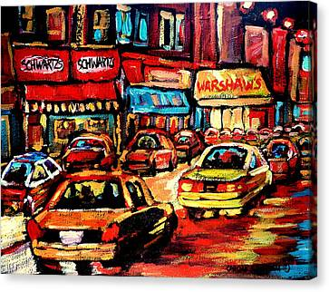 Schwartz's Deli At Night Canvas Print by Carole Spandau