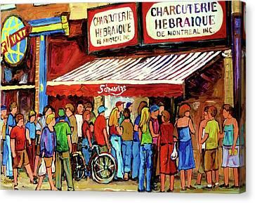 Montreal Neighborhoods Canvas Print - Schwartzs Deli Lineup by Carole Spandau