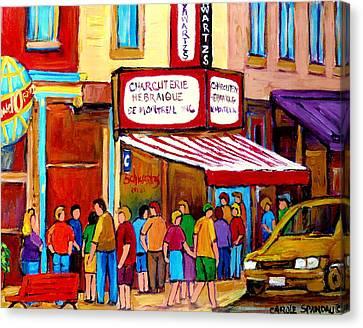 Schwartzs Hebrew Deli Montreal Streetscene Canvas Print by Carole Spandau