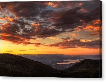 White Pines Canvas Print - Schweitzer Mountain Sunrise by Mark Kiver