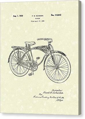 Schwinn Bicycle 1939 Patent Art Canvas Print by Prior Art Design