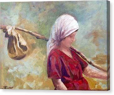 Grape Pickers Canvas Print - Sciarpa by Sally Fraser