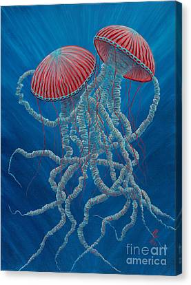 Scifi Jellies Canvas Print by Rebecca Parker