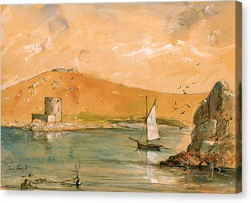 Scilly Islands Watercolor Painting Canvas Print by Juan  Bosco