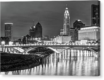 Scioto River Reflections Of Columbus Skyline  Black And White Canvas Print