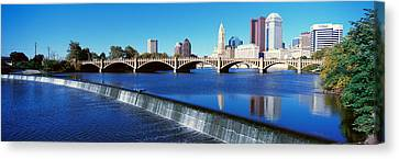 Scioto River With Waterfall Canvas Print