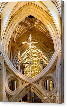 Canvas Print featuring the photograph Scissor Arches, Wells Cathedral by Colin Rayner