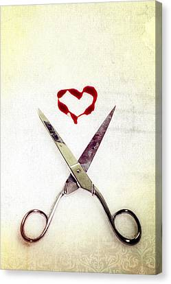 Scissors And Heart Canvas Print by Joana Kruse