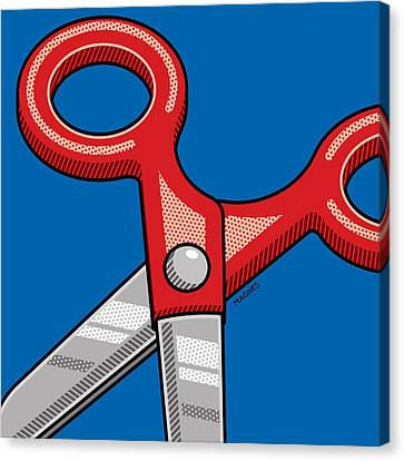 Canvas Print featuring the digital art Scissors by Ron Magnes