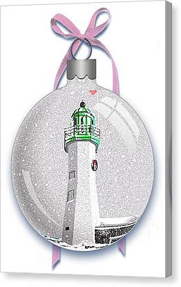 Canvas Print featuring the digital art Scituate Light Ornament-a by Donna Basile