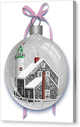 Canvas Print featuring the digital art Scituate Light Ornament-b by Donna Basile