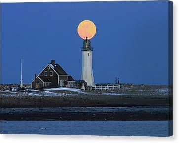 Scituate Lighthouse Snow Moon Canvas Print by John Burk