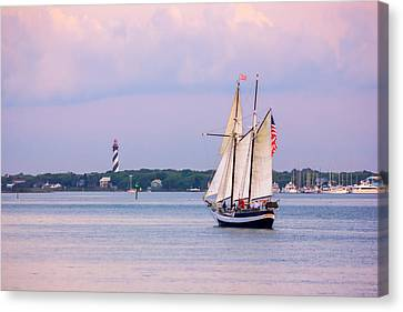 Scooner Freedom Near St. Augustine Lighthouse Canvas Print by Rob Sellers