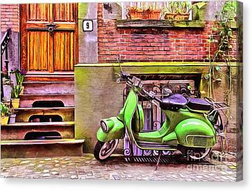 Canvas Print featuring the painting Scooter Parking Only by Edward Fielding