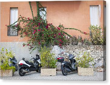 Scooters On Street In Villefranche-sur-mer Canvas Print