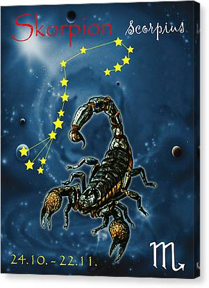 Scorpius And The Stars Canvas Print by Johannes Margreiter