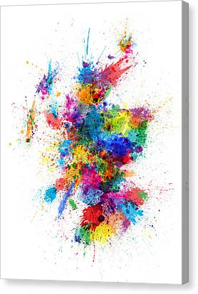 Scotland Paint Splashes Map Canvas Print