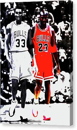 Pippen Canvas Print - Scottie Pippen And Michael Jordan by Brian Reaves