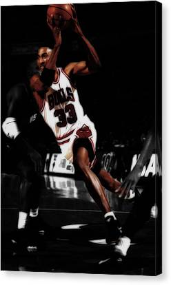 Patrick Ewing Canvas Print - Scottie Pippen On The Move by Brian Reaves