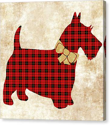 Scottie Dog Plaid Canvas Print by Christina Rollo