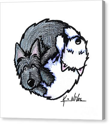 Scottish Dog Canvas Print - Scottie Westie Yin Yang by Kim Niles