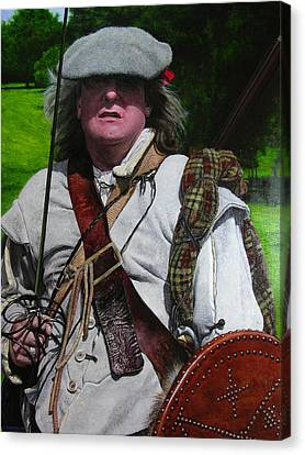 Canvas Print featuring the painting Scottish Soldier Of The Sealed Knot At The Ruthin Seige Re-enactment by Harry Robertson