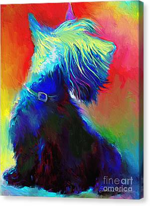 Scottish Dog Canvas Print - Scottish Terrier Dog Painting by Svetlana Novikova