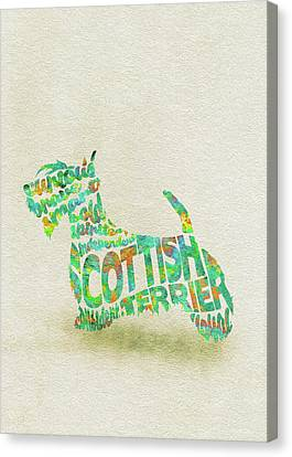 Canvas Print featuring the painting Scottish Terrier Dog Watercolor Painting / Typographic Art by Inspirowl Design