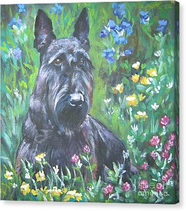 Scottish Terrier In The Garden Canvas Print by Lee Ann Shepard