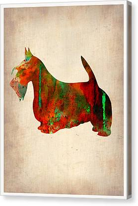 Scottish Terrier Watercolor 2 Canvas Print by Naxart Studio