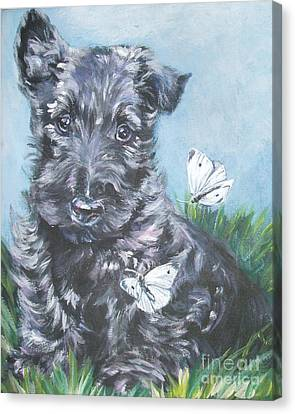 Scottish Terrier With Butterflies Canvas Print by Lee Ann Shepard