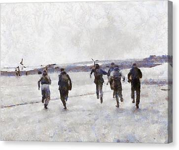 Scramble The Battle Of Britain 1940 Pilots Seen Running To Their Aircraft. Canvas Print by Esoterica Art Agency