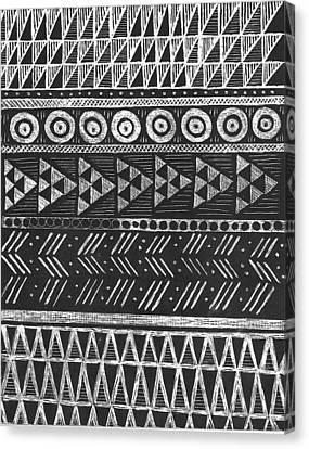 Scratchboard Kapa Patterns 1 Large Canvas Print by Cynthia Conklin