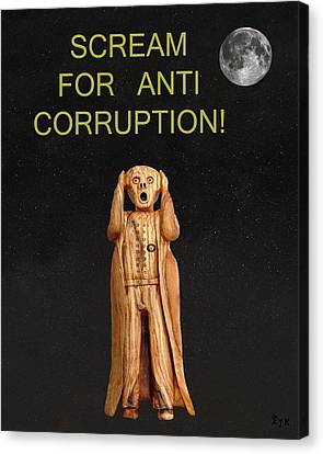 Scream For Anti Corruption Canvas Print by Eric Kempson