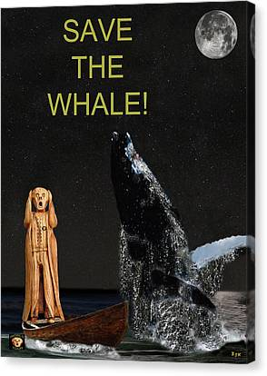 Scream With Humpback Save The Whale Canvas Print by Eric Kempson