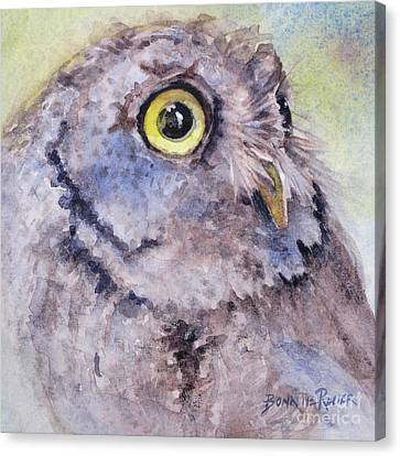 Canvas Print featuring the painting Screech Owl by Bonnie Rinier