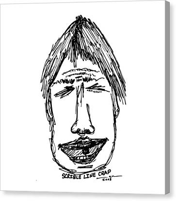 Scribble Line Face Canvas Print by Karl Addison