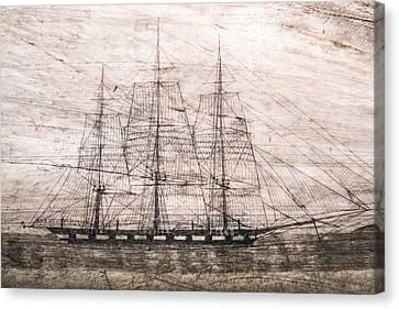 Scrimshaw Whale Panbone Canvas Print
