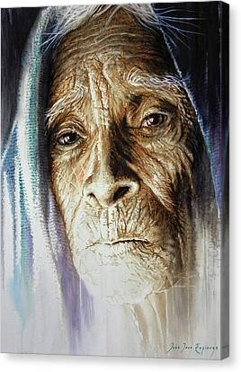 Canvas Print featuring the painting Scripts Of Ancestral Light  by J- J- Espinoza