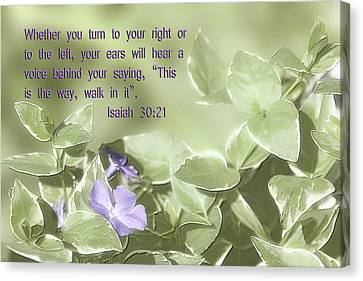 Scripture In Pastle Floral Canvas Print by Linda Phelps
