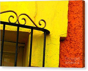Scroll On Yellow By Michael Fitzpatrick Canvas Print by Mexicolors Art Photography