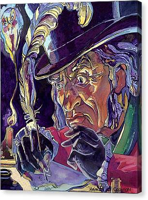 Canvas Print featuring the painting Scrooge And Marley's Ghost by Tim  Heimdal