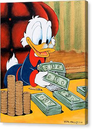 Scrooge Mcduck Counting Money Canvas Print by Victor Minca